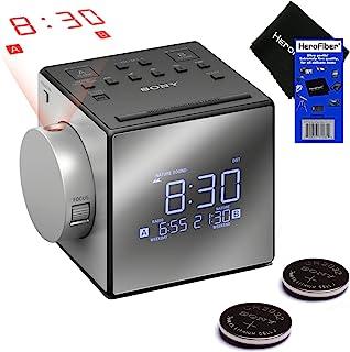 全新改进版 - 索尼投影机双闹钟,可延续的贪睡,5 种自然声音,AM/FM 收音机,内置日历,大型 LED 显示屏和 USB 端口(黑色)+ 2 个索尼 Rplc。 Batteries + HeroFiber 室内的 白色