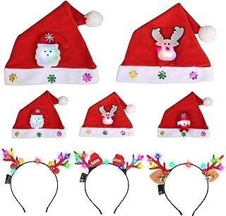 Gulito 8 件装圣诞节帽子和圣诞头带 适用于儿童和成人 - 圣诞老人雪人驯鹿 LED 圣诞派对帽 - 柔软舒适法兰绒圣诞节派对套装