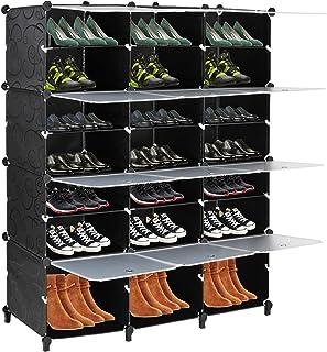 VINGLI 鞋收纳箱 Cubby 储物鞋架 适用于衣橱 立方体鞋架 适用于鞋柜 可扩展 适用于高跟鞋靴 拖鞋 7 层 黑色