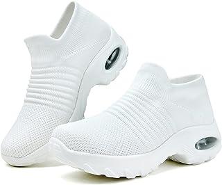 女式步行鞋袜子运动鞋休闲透气网眼一脚蹬气垫鞋跟坡跟防水台乐福鞋*跑步网球轻便