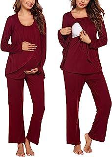 Ekouaer 孕妇护理睡衣套装长袖上衣和裤子带口袋哺乳睡衣双层孕妇睡衣套装(S-XXL)
