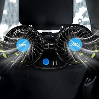 汽车风扇,XOOL 电动汽车风扇适用于后座乘客便携式汽车座椅风扇头枕 360 度旋转后座汽车风扇 12V 冷却空气风扇带 2 个 USB 充电端口,适用于 SUV、RV、车辆
