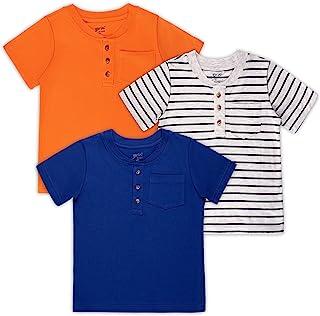 Brix 男童短袖 T 恤 – 幼儿婴儿服装 3 件装口袋亨利衫 T 恤。