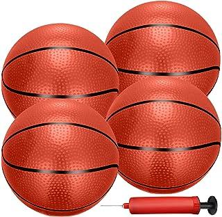 Liberty Imports 4 件充气迷你篮球玩具替换橡胶球,带泵和针头,适用于室内玩具微型篮球或运动训练(7 英寸)