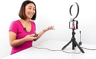 iRig Video Creator 套件 - 台式三脚架、手柄、全尺寸三脚架和自拍杆模式带 15.24 cm LED 环灯适用于任何智能手机