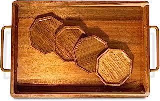 带手柄的木制托盘 – 家庭装饰Ottoman 托盘,4 套杯垫,适用于咖啡、早餐、派对和家居装饰的托盘