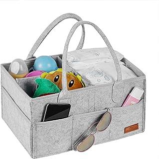 Baby Diaper Caddy 收纳袋,便携式育儿储物箱毛毡篮,带多个口袋和可更换隔层,婴儿湿巾袋儿童尿布收纳袋(浅灰色)