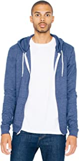 American Apparel 中性款三混纺毛圈长袖拉链连帽衫