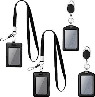 4 件垂直身份证夹,用于放置徽章夹,带可拆卸挂绳,可爱身份证夹,带夹子,黑色徽章夹,PU 皮身份证夹带挂绳,用于名片钱包钥匙链通行证