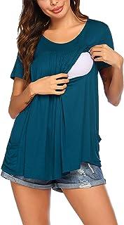 Ekouaer 女式哺乳上衣孕妇衬衫哺乳柔软双层短袖孕妇睡衣带口袋