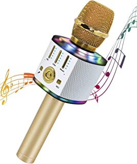 儿童卡拉 OK 麦克风,无线蓝牙卡拉 OK 麦克风,带 LED 灯,便携式手持麦克风扬声器机,送给女孩、男孩成人的*礼品玩具(金色)
