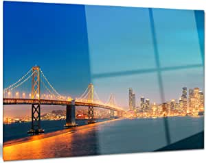 "Designart MT10109-20-12 照明旧金山天际线水晶金属墙壁艺术 28x12"" MT10109-28-12"
