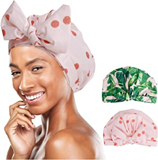 F.P.L 女士女孩浴帽可重复使用防水弹性可调节豪华蝴蝶结淋浴帽多功能浴帽所有长度(棕榈叶 1 + 圆点)