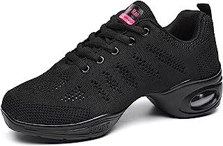 女士 Jazz Shoes 系带运动鞋 - 透气气垫女士分离式鞋底运动步行舞鞋防水台