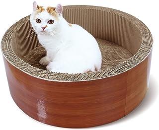 ScratchMe 猫抓板休息床,圆形猫抓板纸板垫,带猫薄荷,耐用回收垫玩具防止家具损坏