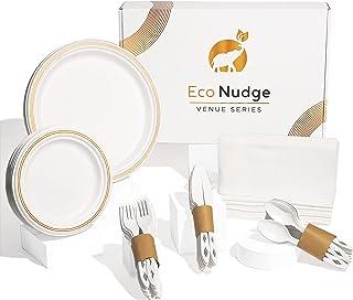 Eco Nudge 一次性餐具套装 - Gold Venue 系列是一款优雅的环保餐饮套装,适合婚礼、派对、节日或其他活动。 150 件,供 25 位宾客使用。