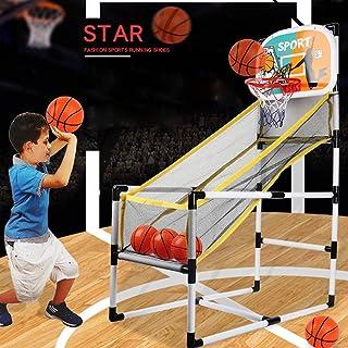 Vatocu 蓝色街机篮球篮筐游戏篮球射击训练玩具室内篮球街机游戏适合 2 至 14 岁儿童(白色)