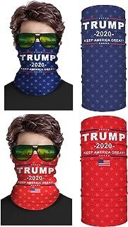 Second Skin USA Trump 2020 面罩颈套 2 件装 - 中性多功能面罩 - 酷炫面罩适用于露营、跑步、钓鱼、狩猎等户外活动 - 适用于UVA UVB 防护