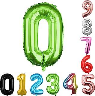 40 英寸大数字气球*气球巨型氦气气球数字 0 1 2 3 4 5 6 7 8 9 生日周年纪念派对婴儿派对婚礼装饰节日气球(* 0)