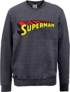DC Comics 男式 DC0000706 官方超人 Telescopic 标志圆领长袖运动衫