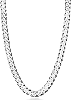 MiaBella 纯 925 纯银意大利 7 毫米钻石切割古巴链式项链男士女士,16,18,20,22,24,26,30 英寸