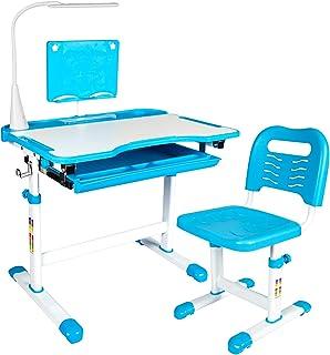 儿童桌和椅子套装,高度可调节儿童学校学习桌,带倾斜桌面,拉出储物抽屉书架,3 种亮度级别和 2 种颜色温度 LED 灯和金属挂钩(蓝色)