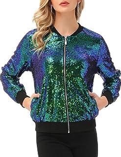 KANCY KOLE 女式亮片夹克休闲长袖前拉链派对短夹克带口袋 S-2XL