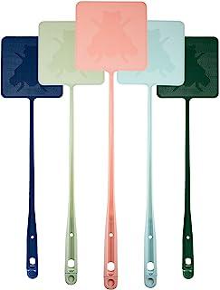 5 件 Fly Swatter 长手柄飞扬式强力灵活手动抽水器套装塑料飞溅带镊子(粉色、*、蓝色)