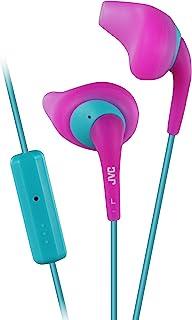 JVC Gumy Sport HA-ENR15 耳塞 - 入耳式耳机带喷嘴*舒适贴合,防汗,3.3 英尺(约 1 米)彩色线带 iPhone 兼容纤薄插头(粉色/蓝*)