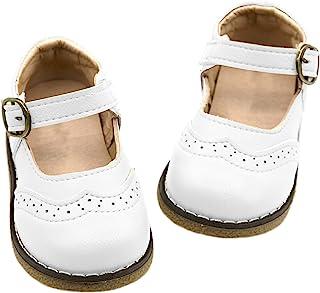 Athlefit 女孩经典玛丽珍鞋学校正装鞋制服平底鞋适合幼儿/小孩