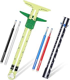 2 件 T 形滑动测量缝纫工具 5 合 1 滑动测量缝纫尺工具织物绗缝尺,带 4 种颜色热擦笔,用于针织工艺标记纽扣孔