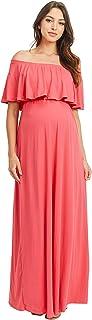 HELLO MIZ 女式褶皱露肩长裙 - 美国制造 珊瑚色纯色 X-Large