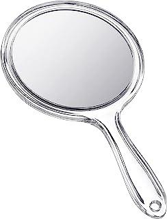 手持镜双面手持镜子 1X/ 2X 放大镜带手柄透明手镜圆形化妆镜(透明)
