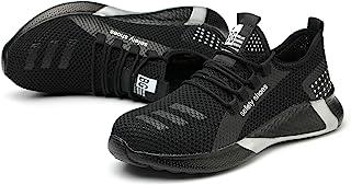 Withtens *钢头鞋女式透气轻便工作*鞋女式鞋类工业建筑鞋防滑鞋网眼运动鞋
