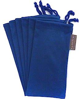 6 件眼镜眼镜 超细纤维软清洁布袋 蓝色