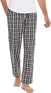 Aibrou 男式睡裤棉质格子长款直筒睡裤,带口袋