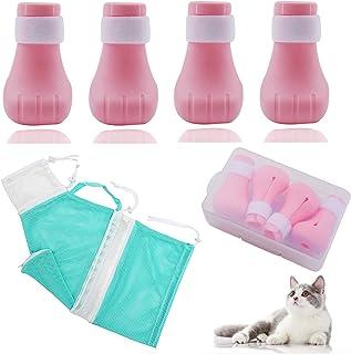 猫咪浴包和 4 件猫鞋,可调节猫*包,适用于沐浴和防刮猫短靴,防咬猫沐浴包,美甲装饰 - 各种尺寸的猫咪(*)