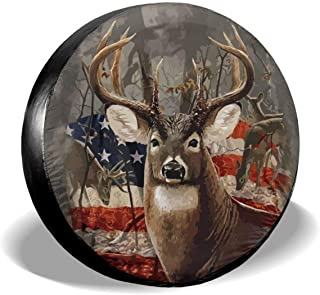 Cozipink 鹿 美国国旗 备用轮胎套 车轮保护 防风雨 通用拖车 Rv SUV 卡车 露营车 旅行拖车 14 英寸 15 英寸 16 英寸 17 英寸