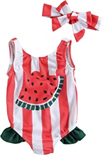 XIAOXUEG 女童泳装可爱印花连体泳衣女婴泳装沙滩运动比基尼套装