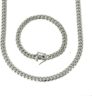 Bling Bling NY 实心银色表面不锈钢 8mm 厚度 迈阿密古巴链 盒扣锁