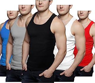 Geyoga 5 件男式背心汗衫 - 多件装无袖 Y 型后背衬衫