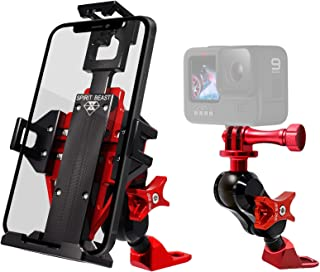适用于镜架的摩托车手机支架,通用金属手机支架,适用于 iPhone、三星等,可调节适合所有摩托车和哈雷戴维森(红色)