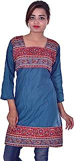 Lakkar Haveli 印度 * 纯棉上衣 佩斯利印花 Kurta 女式民族风束腰上衣 Kurti 加大码青色