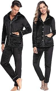 Aibrou 情侣羊毛睡衣套装毛绒柔软冬季长袖上衣和裤子带口袋