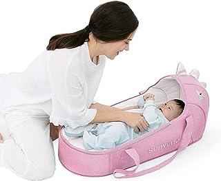 SUNVENO 婴儿床和婴儿躺椅,Moses 篮式摇篮床边睡袋新生儿旅行床婴儿床婴儿睡袋 适合 0-12 个月的婴儿(粉色)
