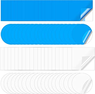 Wehhbtye 80 件自粘 PVC 修补贴片 - 塑料泳池衬垫贴片,船修补乙烯基橡胶,用于充气游泳圈泳池船帆皮艇(方形圆形蓝色透明)