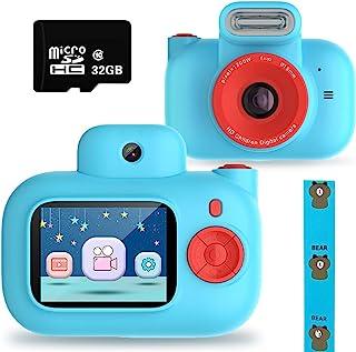 儿童相机玩具适合 4-10 岁女孩,可充电儿童双镜头数码相机男孩女孩防震 1500 万像素,带 32G SD 卡*佳生日,蓝色