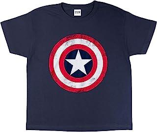 Marvel Avengers Assemble 美国队长做旧盾牌女孩 T 恤 | 官方商品 | 适合 3-15 岁的儿童,漫威礼物,复仇者女孩时尚上衣,儿童服装,儿童生日礼物创意