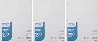 Mead 活页纸,学院线条,200 页,20.5 x 20.32 厘米,3 孔装订,适用于 3 个活页夹、写作和办公纸,非常适合学院、K-12 或家庭学校,3 件装 (73185)