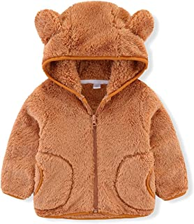 iChunhua 女宝宝熊耳朵形状羊毛长袖夹克运动衫外套带口袋